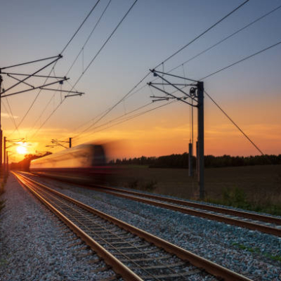 A local commuter train at sunset outside Copenhagen